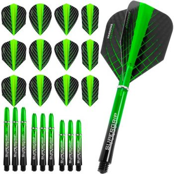 harrows quantum fusion dart flights and shafts combo kit green