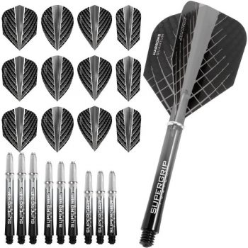 harrows quantum fusion dart flights and shafts combo kit smokey