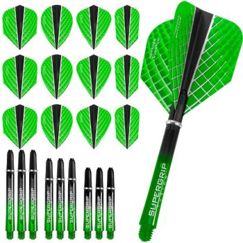 harrows quantum fusion x dart flights and shafts combo kit green